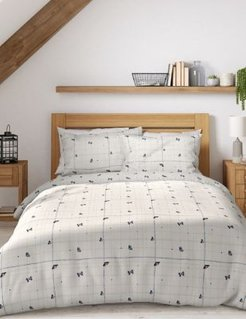 Pure Cotton Butterfly Bedding Set - White Mix - Single (3 ft)