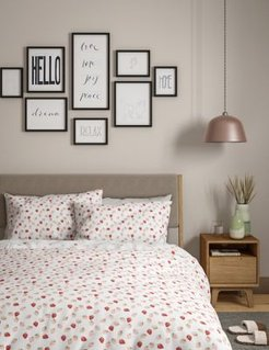 Pure Cotton Strawberry Bedding Set - Pink Mix - Double (4 ft 6)
