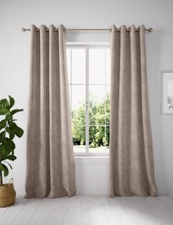 Chenille Eyelet Curtains - Taupe - 63W x 72L