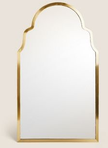 Madrid Large Curved Wall Mirror - Antique Brass - One Size