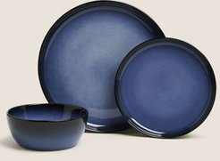 12 Piece Amberley Reactive Dining Set - Blue - One Size