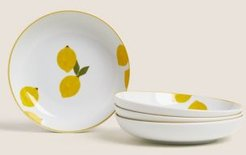 Set of 4 Lemons Pasta Bowls - Yellow Mix - One Size