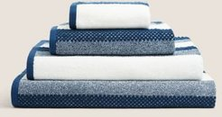 Pure Cotton Striped Textured Towel - Navy - Face Towel