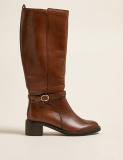 Marks & Spencer Leather Buckle Knee High Boots - Chocolate - US 6 (UK 4)