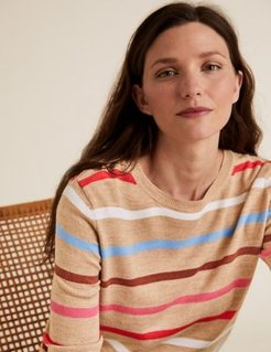 Marks & Spencer Supersoft Striped Crew Neck Jumper - Camel Mix - US 2 (UK 6)