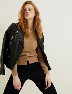 Marks & Spencer Pure Cashmere Crew Neck Cardigan - Camel - US 2 (UK 6)