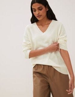Marks & Spencer Pure Cashmere V-Neck Relaxed Jumper - Cream - Small