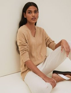 Marks & Spencer Pure Cashmere V-Neck Relaxed Jumper - Camel - Extra Small