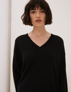 Marks & Spencer Pure Cashmere V-Neck Relaxed Jumper - Black C - Small