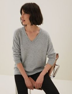 Marks & Spencer Pure Cashmere V-Neck Relaxed Jumper - Grey Mix - Extra Small