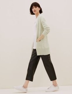 Marks & Spencer Pure Cashmere Textured Longline Cardigan - Multi/Neutral - Extra Small