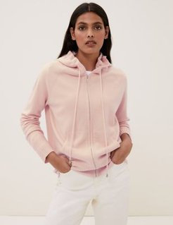 Marks & Spencer Pure Cashmere Knitted Relaxed Hoodie - Blush - Extra Small
