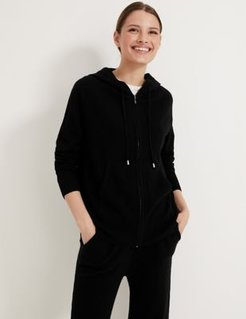 Marks & Spencer Pure Cashmere Knitted Relaxed Hoodie - Black - Extra Small
