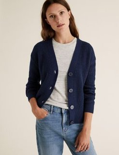 Marks & Spencer Cotton Ribbed Cardigan with Wool - Navy - Extra Large
