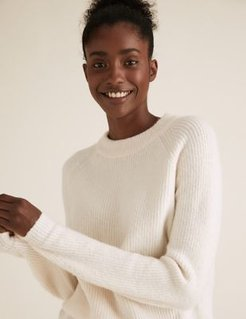 Marks & Spencer Ribbed Crew Neck Jumper - Cream - Extra Small