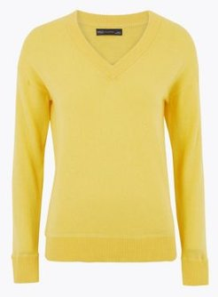 Marks & Spencer Cotton V-Neck Relaxed Jumper with Cashmere - Primrose - Extra Small