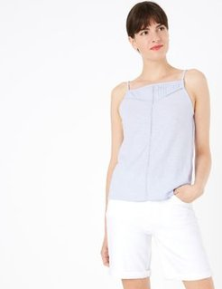 Marks & Spencer Pure Cotton Sleeveless Camisole Top - Pale Blue - US 2 (UK 6)
