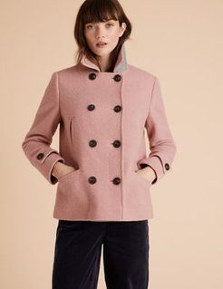 Marks & Spencer Wool Double Breasted Short Pea Coat - Pale Rose - US 4 (UK 8)
