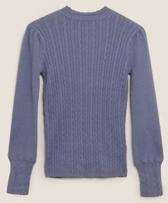 Marks & Spencer Cable Knit High Neck Jumper with Wool - Blueberry - US 4 (UK 8)