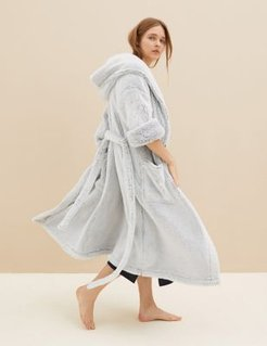 Marks & Spencer Hooded Dressing Gown - Grey Mix - Small