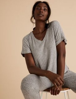 Marks & Spencer Cosy Lounge Ribbed Top - Grey Mix - US 2 (UK 6)