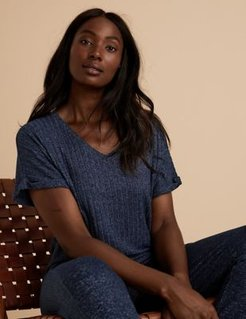 Marks & Spencer Cosy Knit Ribbed Lounge Top - Navy - US 2 (UK 6)