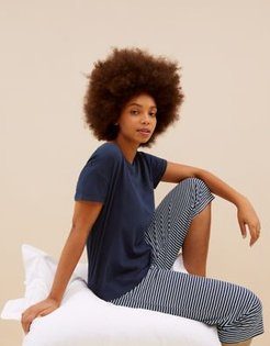 Marks & Spencer Pure Cotton Striped Cropped Pyjama Set - Navy Mix - Extra Small