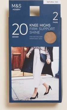 Marks & Spencer 2pk Firm Support Shine Knee Highs - Natural Tan - One Size