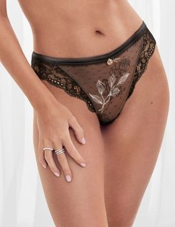 Marks & Spencer Placement Embroidery Low Rise Thong - Black Mix - US 2 (UK 6)