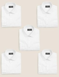 Marks & Spencer 5 Pack Skinny Fit Long Sleeve Shirts - White Mix - US 16