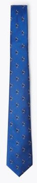 Marks & Spencer Woven Emu Pure Silk Tie - Blue Mix - One Size