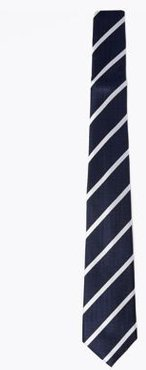 Marks & Spencer Pure Silk Striped Woven Tie - Navy Mix - One Size