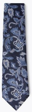 Marks & Spencer Pure Silk Paisley Woven Tie - Navy Mix - One Size