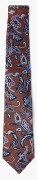 Marks & Spencer Pure Silk Paisley Woven Tie - Bronze Mix - One Size