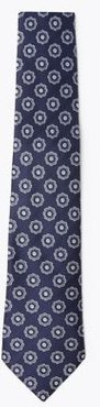 Marks & Spencer Pure Silk Woven Floral Tie - Navy Mix - One Size