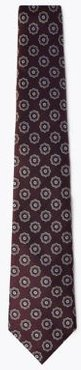Marks & Spencer Pure Silk Woven Floral Tie - Burgundy Mix - One Size