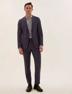 Marks & Spencer Tailored Fit Pure Wool Check Jacket - Blue - US 36in
