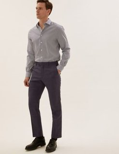 Marks & Spencer Tailored Fit Pure Wool Check Trousers - Blue - US 30in