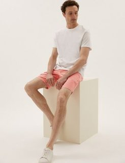 Marks & Spencer Stretch Chino Shorts - Coral - 28 Reg