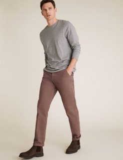 Regular Fit Stretch Chinos - Mauve - 30in waist