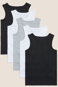 5 Pack Pure Cotton Vests (2-16 Yrs) - Black Mix - 4-5 Years