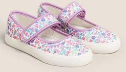 Kids' Floral Riptape Mary Jane Shoes (5 Small - 12 Small) - Lilac Mix - US 5.5 (UK 5 Small)