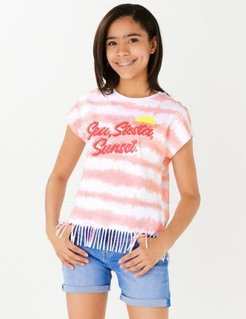 Pure Cotton Sequin Tassel T-Shirt (6-16 Yrs) - Coral - 11-12 Years