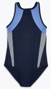 Striped Swimsuit (6-16 Yrs) - Blue Mix - 6-7 Years