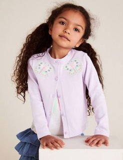 Pure Cotton Butterfly Cardigan (2-7 Yrs) - Lilac - 2-3 Years