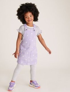 2pc Cotton Floral Pinafore Outfit (2-7 Yrs) - Lilac - 3-4 Years