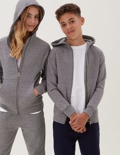 Cotton Zip Through Hooded (6-16 Yrs) - Charcoal - 6-7 Years