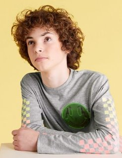 Pure Cotton Skate Back Graphic Top (6-14 Yrs) - Grey - 11-12 Years