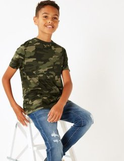 Pure Cotton Camo Print T-Shirt (6-16 Yrs) - Multi - 8-9 Years