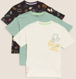 3pk Pure Cotton Graphic T-shirts (6-16 Yrs) - Multi - 7-8 Years